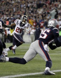 New England Patriots wide receiver Brandon Lloyd recovers a fumble in the end zone for a touchdown against the Houston Texans during the second half of their NFL football game in Foxborough
