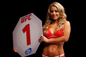 Carly Baker is a UFC Octagon girl that works at most events in Europe.