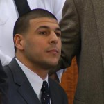 Aaron Hernandez took a seat shortly after hearing the guilty verdict this morning in Fall River, Mass.