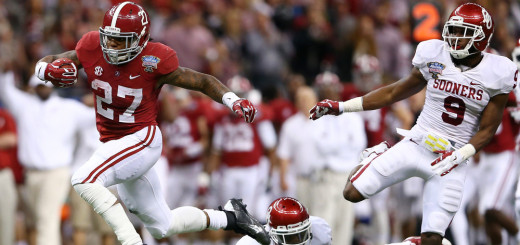 NEW ORLEANS, LA - JANUARY 02:  Derrick Henry #27 of the Alabama Crimson Tide runs for a 61 yard touchdown against the Oklahoma Sooners during the Allstate Sugar Bowl at the Mercedes-Benz Superdome on January 2, 2014 in New Orleans, Louisiana.  (Photo by Streeter Lecka/Getty Images)