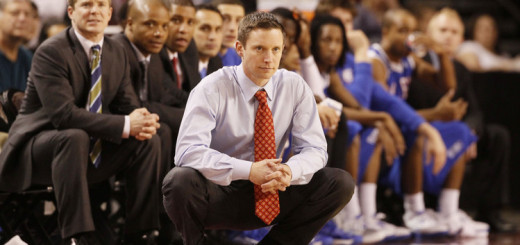 Louisiana Tech head coach Michael White looks on against Denver during the second half of Denver's 78-54 victory in an NCAA basketball game in Denver on Saturday, March 9, 2013. (AP Photo/David Zalubowski)