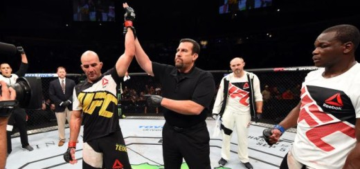 NASHVILLE, TN - AUGUST 08:  (L-R) Glover Teixeira of Brazil celebrates after defeating Ovince Saint Preux in their light heavyweight bout during the UFC Fight Night event at Bridgestone Arena on August 8, 2015 in Nashville, Tennessee.  (Photo by Josh Hedges/Zuffa LLC/Zuffa LLC via Getty Images)