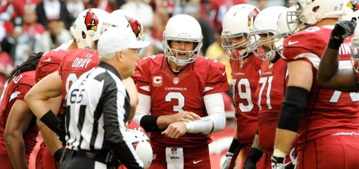 Dec 8, 2013; Phoenix, AZ, USA; Arizona Cardinals quarterback Carson Palmer (3) in the huddle during the first quarter against the St. Louis Rams at University of Phoenix Stadium. Arizona won 30-10. Mandatory Credit: Casey Sapio-USA TODAY Sports