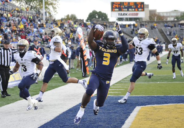 Toledo won't have star RB Kareem Hunt for its trip to Little Rock to face Arkansas.