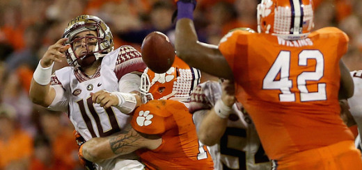 CLEMSON, SC - NOVEMBER 07:  Ben Boulware #10 of the Clemson Tigers hits Sean Maguire #10 of the Florida State Seminoles during their game at Memorial Stadium on November 7, 2015 in Clemson, South Carolina.  (Photo by Streeter Lecka/Getty Images)