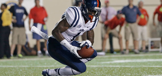 Mississippi wide receiver Laquon Treadwell catches a 2-point conversion pass against Vanderbilt in the third quarter of an NCAA college football game on Thursday, Aug. 29, 2013, in Nashville, Tenn. (AP Photo/Mark Humphrey)