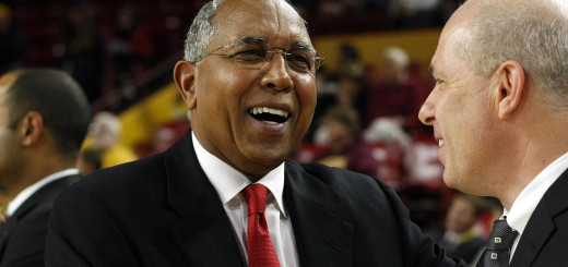 Dec 21, 2013; Tempe, AZ, USA; Texas Tech Red Raiders head coach Tubby Smith and Arizona State Sun Devils head coach Herb Sendek talk before a game at Wells Fargo Arena. Mandatory Credit: Rick Scuteri-USA TODAY Sports