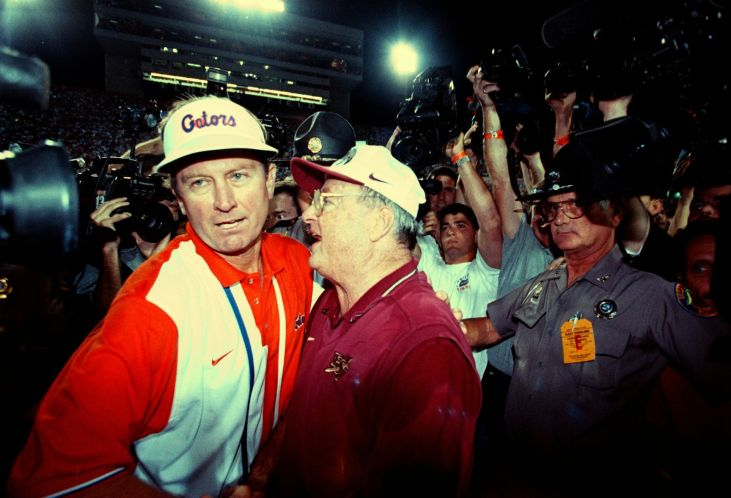 Florida shocked top-ranked and unbeaten FSU in 1997 by rallying for a 32-29 win with Spurrier shuffling his QBs in and out of the game every other play.