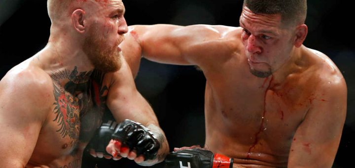 Conor McGregor Nate Diaz during their welterweight rematch at the UFC 202 event at T-Mobile Arena on August 20, 2016 in Las Vegas, Nevada.
