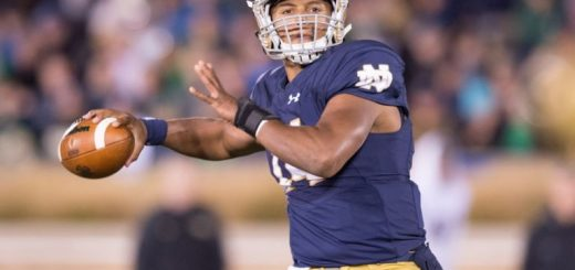 Nov 14, 2015; South Bend, IN, USA; Notre Dame Fighting Irish quarterback DeShone Kizer (14) throws a pass in the fourth quarter against the Wake Forest Demon Deacons at Notre Dame Stadium. Notre Dame won 28-7. Mandatory Credit: Matt Cashore-USA TODAY Sports